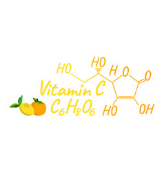 vitamin c with food label and icon chemical vector image
