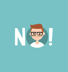 Warning sign young nerd says no clip art design vector