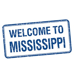 Welcome to Mississippi blue grunge square stamp vector