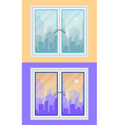 window and city view morning and evening vector image