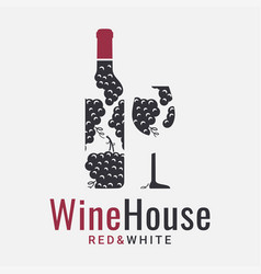 wine logo with grapes on white background vector image