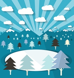 Winter Landscape with Trees and Lake Blue Flat vector image