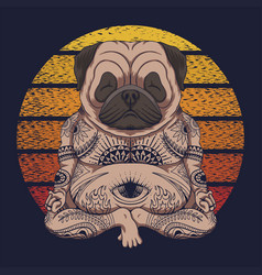 Yoga pug dog sunset retro vector