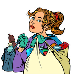 young woman with grocery bags vector image