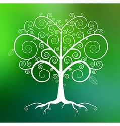 Abstract White Tree on Green Blurred Backgro vector image vector image