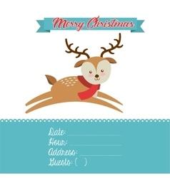 Merry christmas reindeer decoration card vector