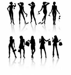 ten isolated beautiful woman vector image vector image