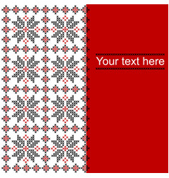 card with ethnic ornament pattern in whitered and vector image