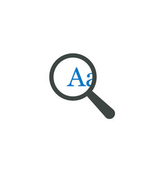 magnifying glass icon a letter icon vector image