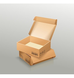 Opened and closed empty cardboard box recycle vector image