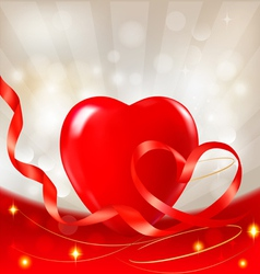 red heart with ribbons vector image