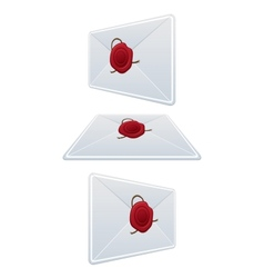 Set Envelope With Wax Seal vector image vector image