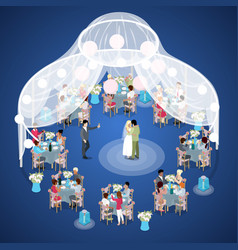 wedding ceremony just married couple isometric vector image