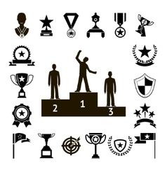 Win Awards Symbols and Trophy Silhouette Icons Set vector image