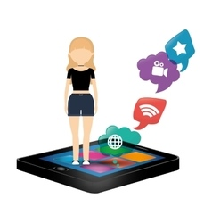 woman smartphone social media bubble speech vector image vector image