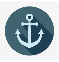 Anchor icon with long shadow Pirates and sea Flat vector image vector image