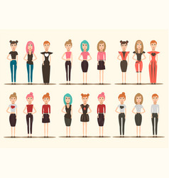 catwalk models characters collection vector image vector image