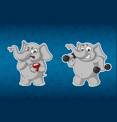 elephants sports dumbbells in the handsfitness vector image