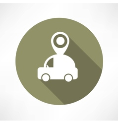 Map pointer with car icon vector image vector image
