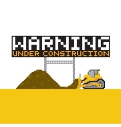 Pixel art style warning anded construction vector image