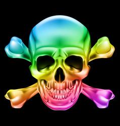 rainbow skull and crossbones on black background vector image vector image
