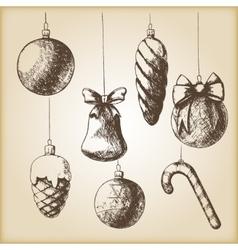 Brown vintage sketch - Christmas hand drawn vector image vector image