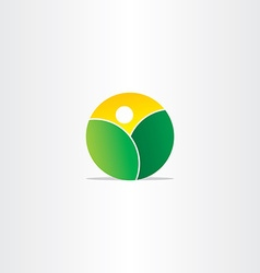 fresh nature mountains and sun icon vector image