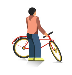 Person stands and holds red bicycle isolated vector