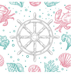 seamless pattern sea shell coral crab and wheel vector image vector image