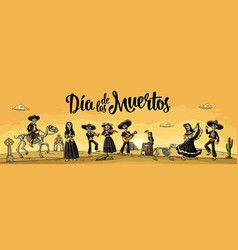 skeleton mexican costumes dance and play the vector image vector image