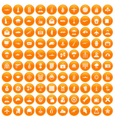 100 military journalist icons set orange vector