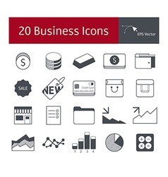 20 business icons vector image