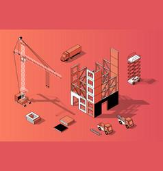 3d isometric construction concept building vector image