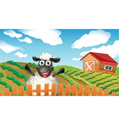 A black sheep inside the fence vector image