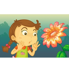 A girl shocked a giant flower vector
