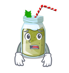 Afraid juice green smoothie on character cup vector