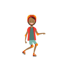 African boy kid wearing knee and elbow pads vector