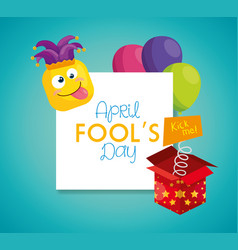 April fools day with hat buffoon and decoration vector