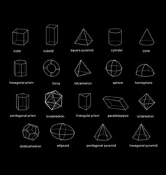 Basic 3d geometric shapes isolated on black vector