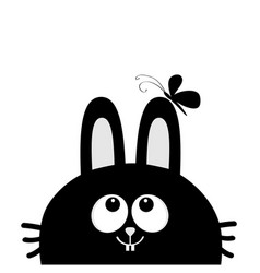 black rabbit bunny face head silhouette looking vector image
