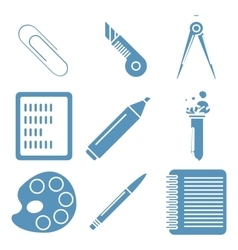 Black school goods light blue linear icons part vector