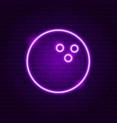 Bowling ball neon sign vector