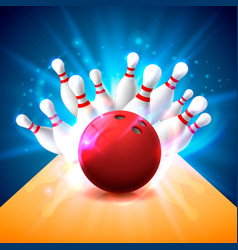 Bowling club poster with bright background vector