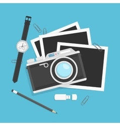 Camera with photos in flat style vector