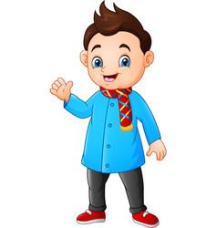 cartoon little boy in winter clothes vector image
