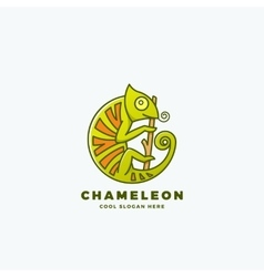 Chameleon on the Branch in a Circle Shape vector