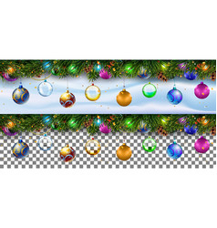 christmas decoration border with firtree branches vector image