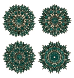 Circular floral patterns of emerald lace flowers vector