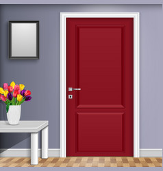 Closed red door with vase and flowers over white vector