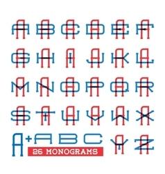 College sport team logo set Two overprint letters vector image vector image